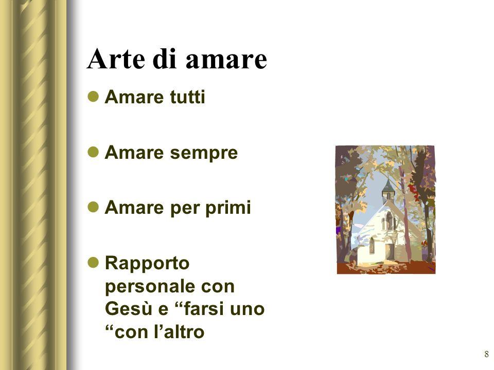 8 Arte di amare Amare tutti Amare sempre Amare per primi Rapporto personale con Gesù e farsi uno con laltro