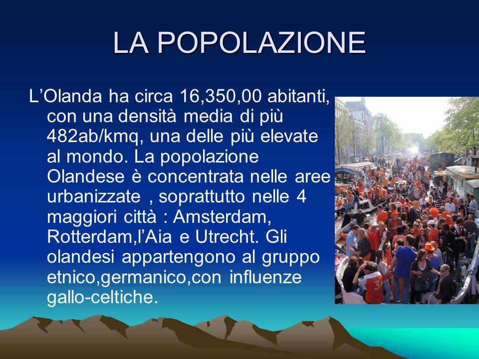 LA POPOLAZIONE LOlanda ha circa 16,350,00 abitanti, con una densità media di più 482ab/kmq, una delle più elevate al mondo. La popolazione Olandese è