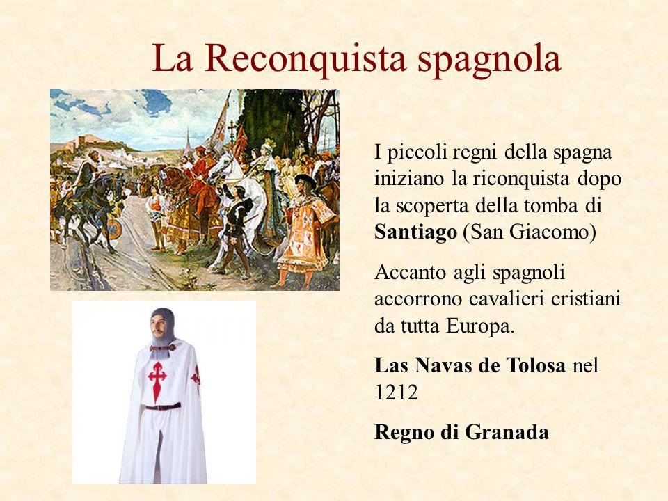 La Reconquista spagnola I piccoli regni della spagna iniziano la riconquista dopo la scoperta della tomba di Santiago (San Giacomo) Accanto agli spagn