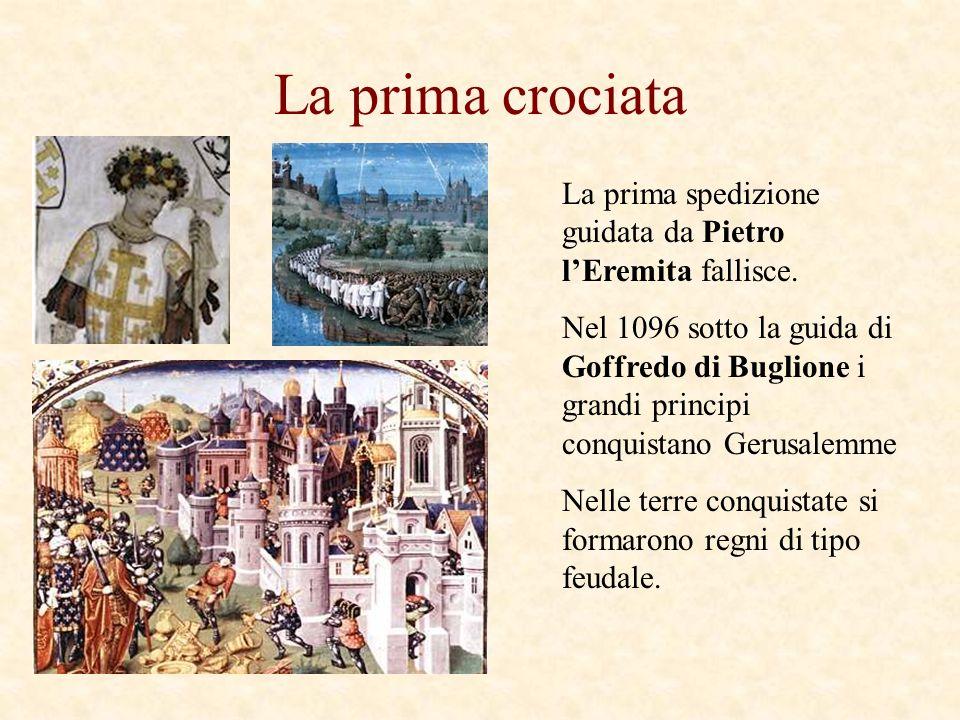 La prima crociata La prima spedizione guidata da Pietro lEremita fallisce. Nel 1096 sotto la guida di Goffredo di Buglione i grandi principi conquista