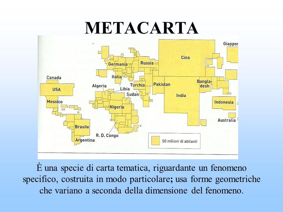 METACARTA È una specie di carta tematica, riguardante un fenomeno specifico, costruita in modo particolare; usa forme geometriche che variano a second