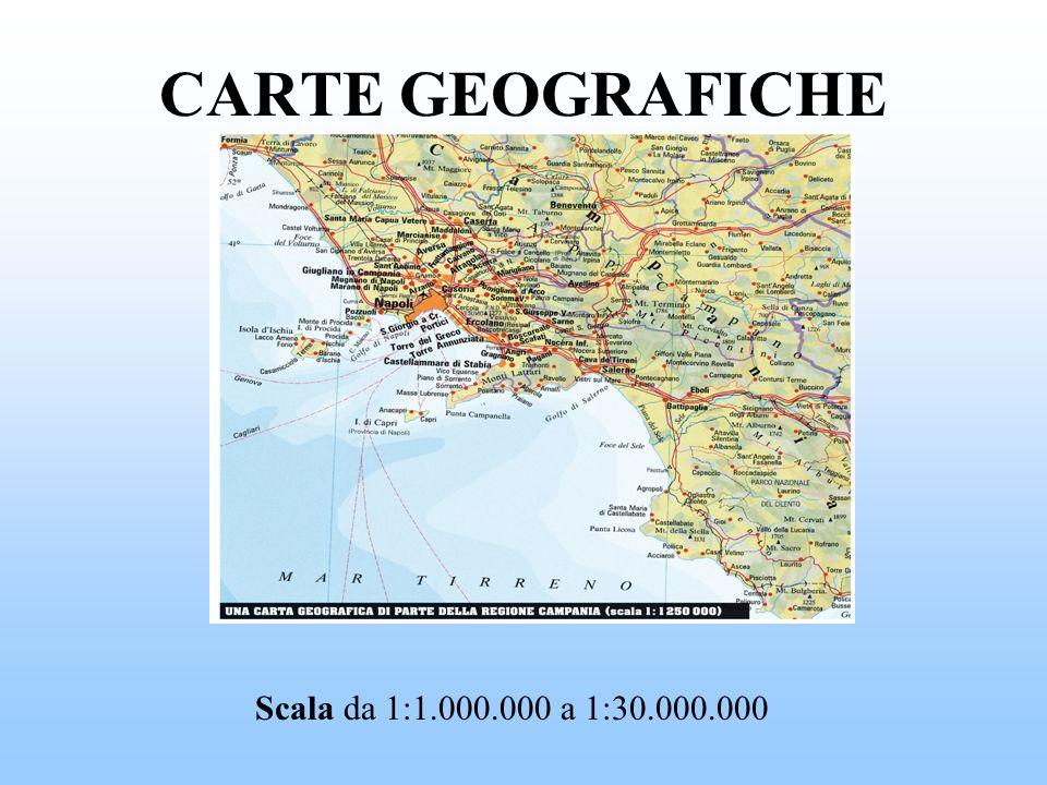 CARTE GEOGRAFICHE Scala da 1:1.000.000 a 1:30.000.000