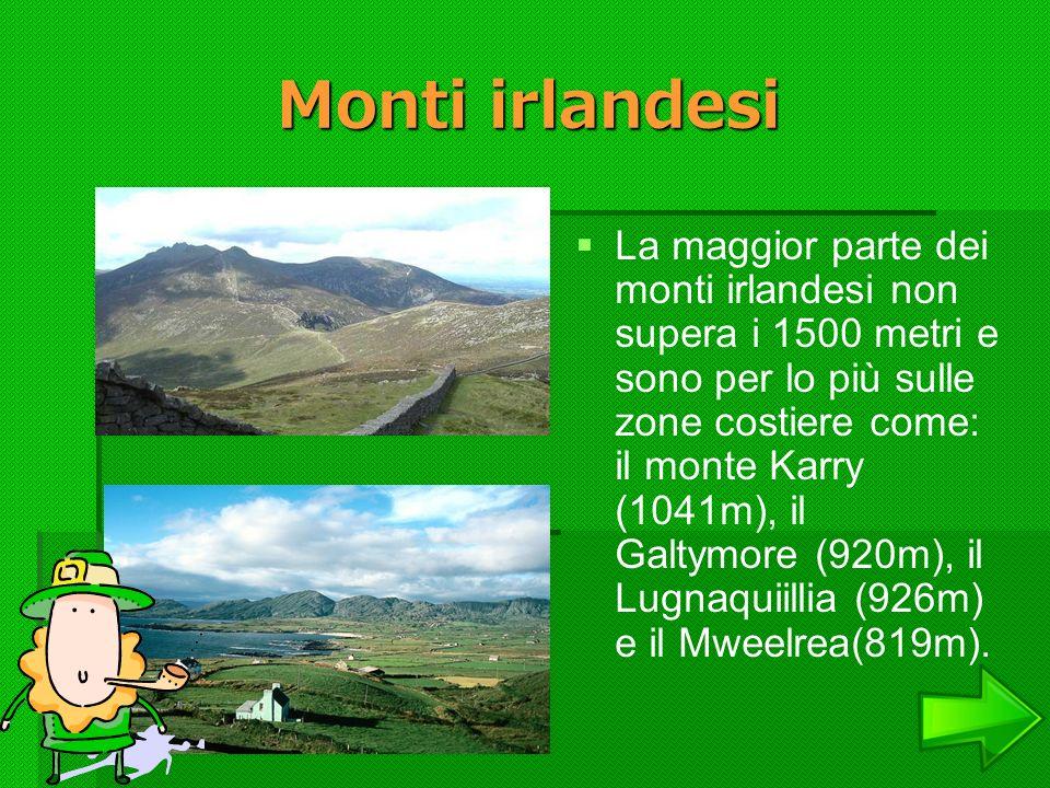 Monti irlandesi La maggior parte dei monti irlandesi non supera i 1500 metri e sono per lo più sulle zone costiere come: il monte Karry (1041m), il Ga