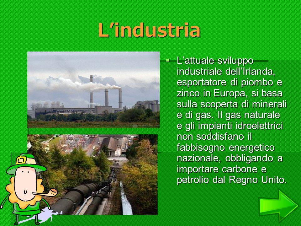 Lindustria Lindustria Lattuale sviluppo industriale dellIrlanda, esportatore di piombo e zinco in Europa, si basa sulla scoperta di minerali e di gas.