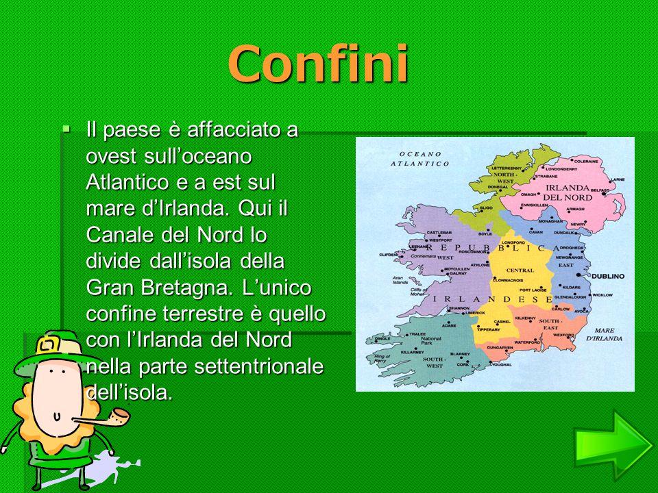 Confini Il paese è affacciato a ovest sulloceano Atlantico e a est sul mare dIrlanda. Qui il Canale del Nord lo divide dallisola della Gran Bretagna.