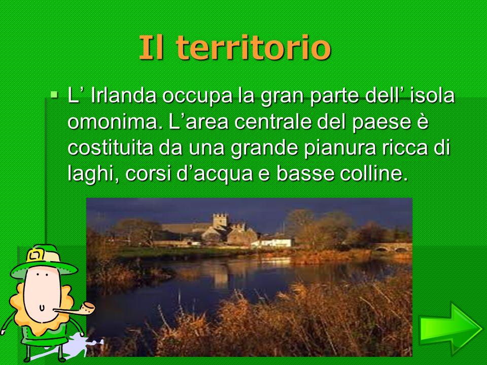 Il territorio L Irlanda occupa la gran parte dell isola omonima. Larea centrale del paese è costituita da una grande pianura ricca di laghi, corsi dac
