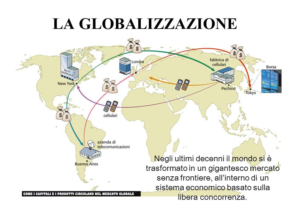 LA GLOBALIZZAZIONE Negli ultimi decenni il mondo si è trasformato in un gigantesco mercato senza frontiere, allinterno di un sistema economico basato
