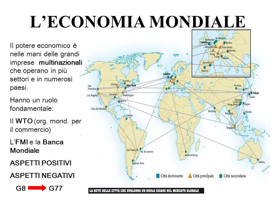 Il potere economico è nelle mani delle grandi imprese multinazionali che operano in più settori e in numerosi paesi. Hanno un ruolo fondamentale: Il W
