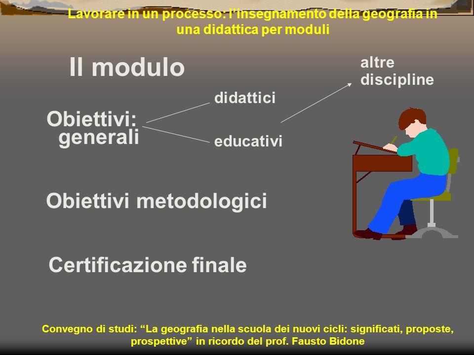 Lavorare in un processo: linsegnamento della geografia in una didattica per moduli Il modulo Obiettivi: generali Convegno di studi: La geografia nella