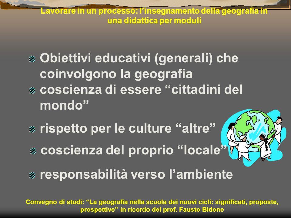 Lavorare in un processo: linsegnamento della geografia in una didattica per moduli Obiettivi educativi (generali) che coinvolgono la geografia Convegn
