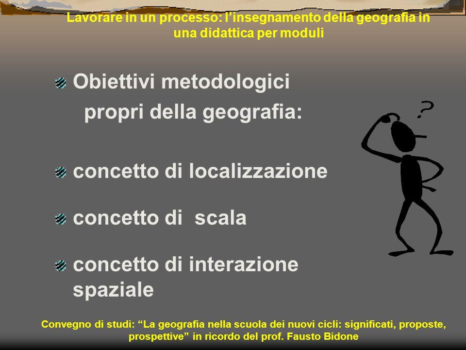 Convegno di studi: La geografia nella scuola dei nuovi cicli: significati, proposte, prospettive in ricordo del prof. Fausto Bidone Lavorare in un pro