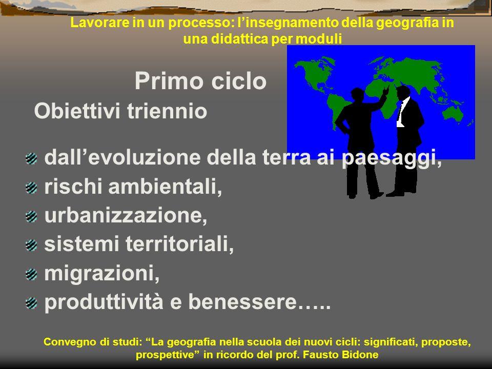 Lavorare in un processo: linsegnamento della geografia in una didattica per moduli Primo ciclo Obiettivi triennio dallevoluzione della terra ai paesag