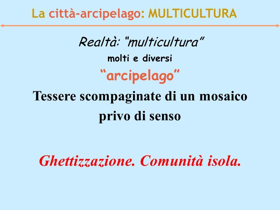 La città-arcipelago: MULTICULTURA Realtà: multicultura molti e diversi arcipelago Tessere scompaginate di un mosaico privo di senso Ghettizzazione. Co
