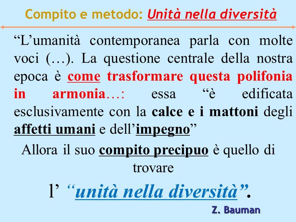 Compito e metodo: Unità nella diversità Lumanità contemporanea parla con molte voci (…). La questione centrale della nostra epoca è come trasformare q