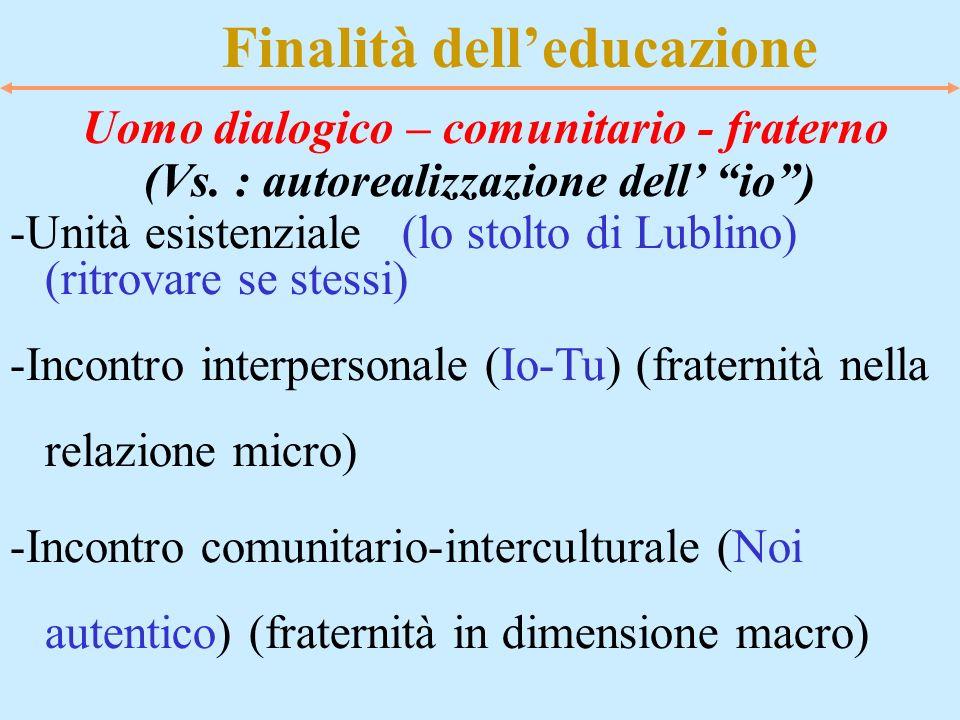 Finalità delleducazione Uomo dialogico – comunitario - fraterno (Vs. : autorealizzazione dell io) -Unità esistenziale (lo stolto di Lublino) (ritrovar