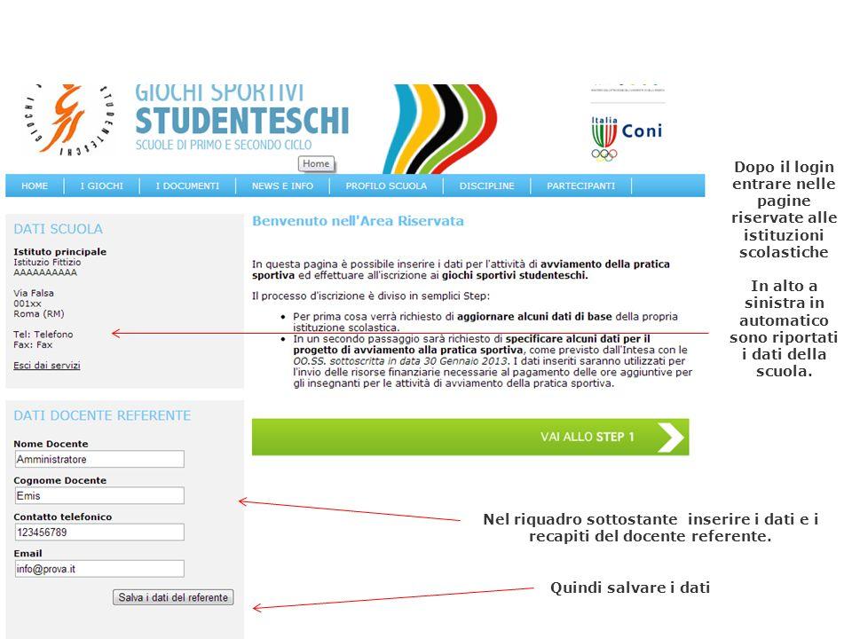 4 Dopo il login entrare nelle pagine riservate alle istituzioni scolastiche In alto a sinistra in automatico sono riportati i dati della scuola. Nel r