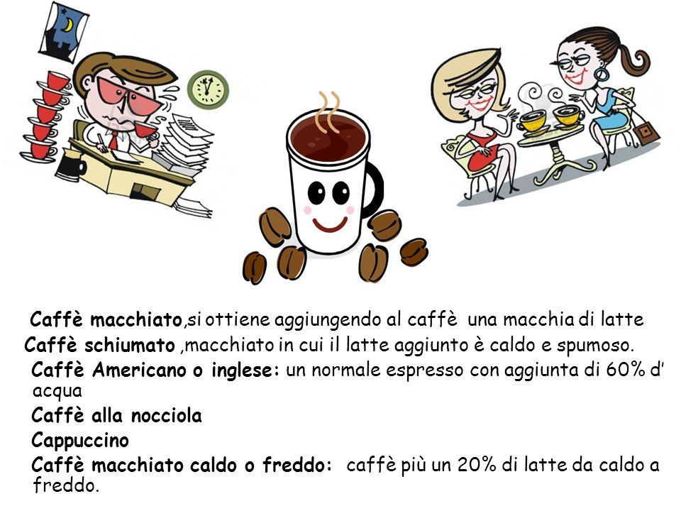 Caffè macchiato,si ottiene aggiungendo al caffè una macchia di latte Caffè schiumato,macchiato in cui il latte aggiunto è caldo e spumoso. Caffè Ameri