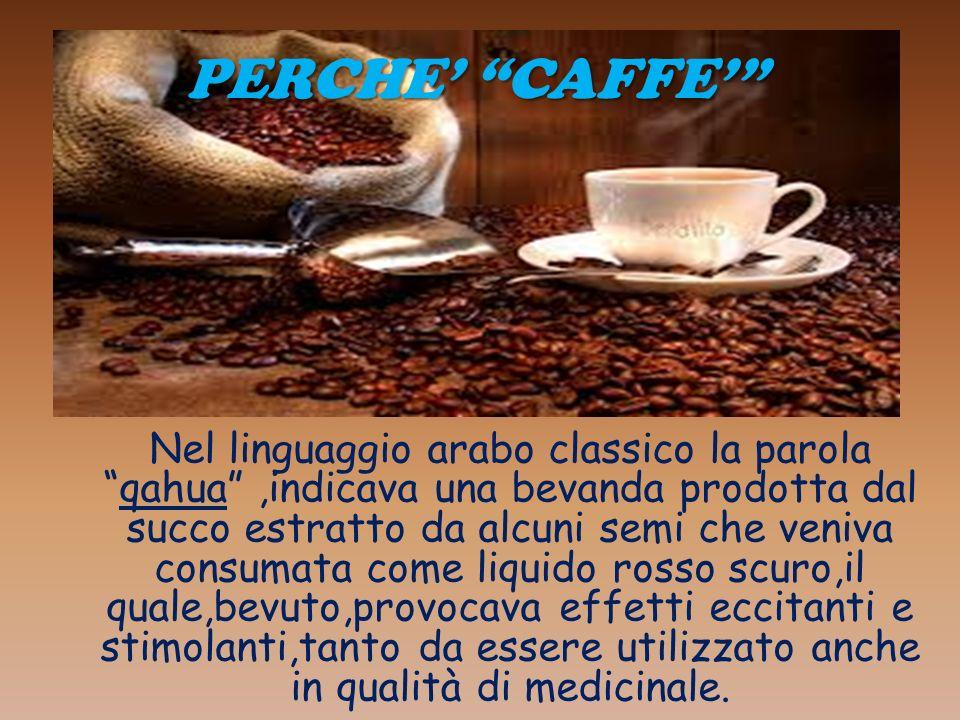 PERCHE CAFFE Nel linguaggio arabo classico la parola qahua,indicava una bevanda prodotta dal succo estratto da alcuni semi che veniva consumata come l