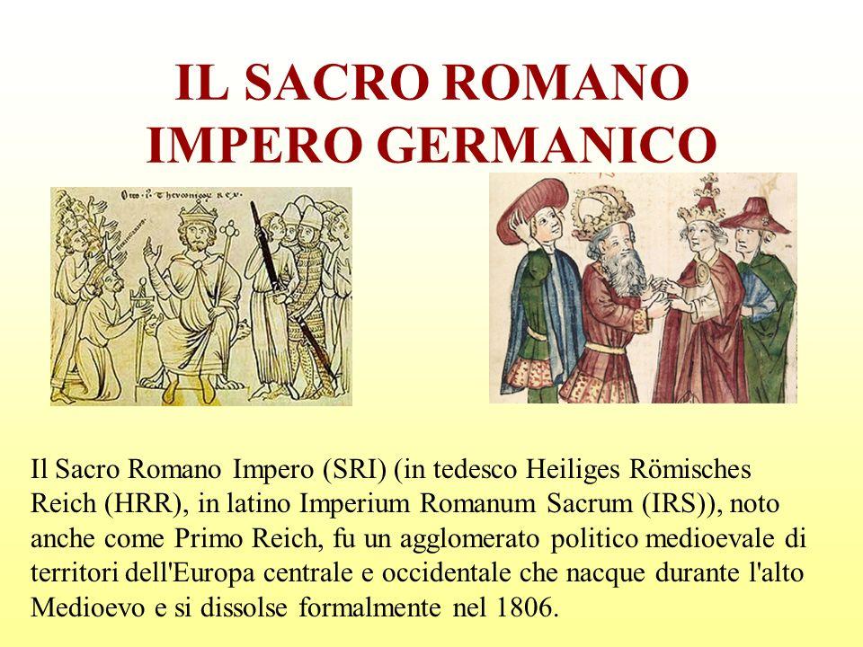 IL SACRO ROMANO IMPERO GERMANICO Il Sacro Romano Impero (SRI) (in tedesco Heiliges Römisches Reich (HRR), in latino Imperium Romanum Sacrum (IRS)), no