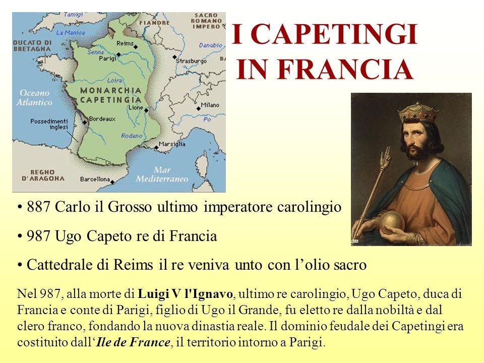 I CAPETINGI IN FRANCIA 887 Carlo il Grosso ultimo imperatore carolingio 987 Ugo Capeto re di Francia Cattedrale di Reims il re veniva unto con lolio s