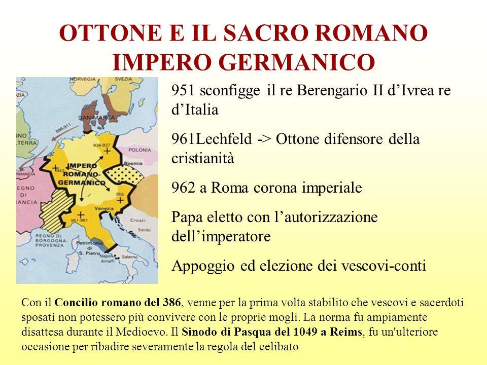 OTTONE E IL SACRO ROMANO IMPERO GERMANICO 951 sconfigge il re Berengario II dIvrea re dItalia 961Lechfeld -> Ottone difensore della cristianità 962 a