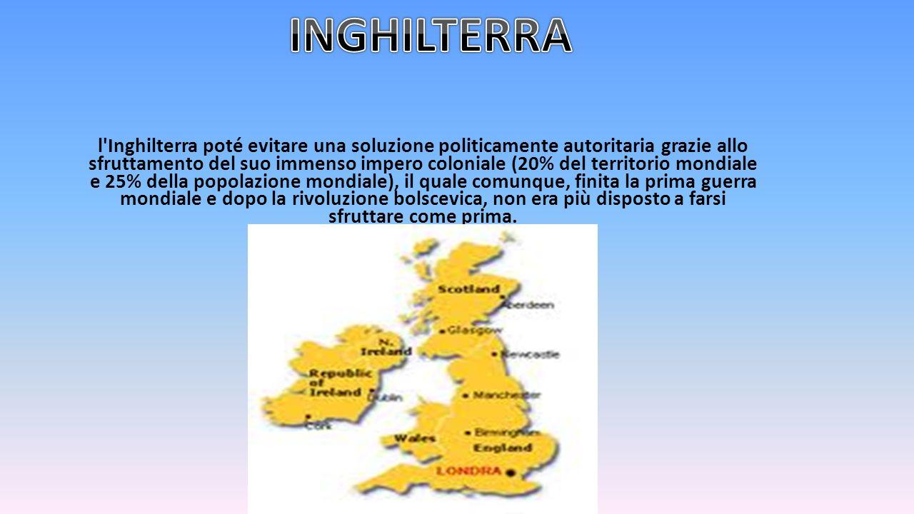 l'Inghilterra poté evitare una soluzione politicamente autoritaria grazie allo sfruttamento del suo immenso impero coloniale (20% del territorio mondi