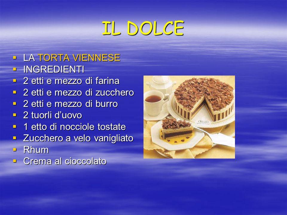 IL DOLCE LA TORTA VIENNESE LA TORTA VIENNESE INGREDIENTI INGREDIENTI 2 etti e mezzo di farina 2 etti e mezzo di farina 2 etti e mezzo di zucchero 2 et