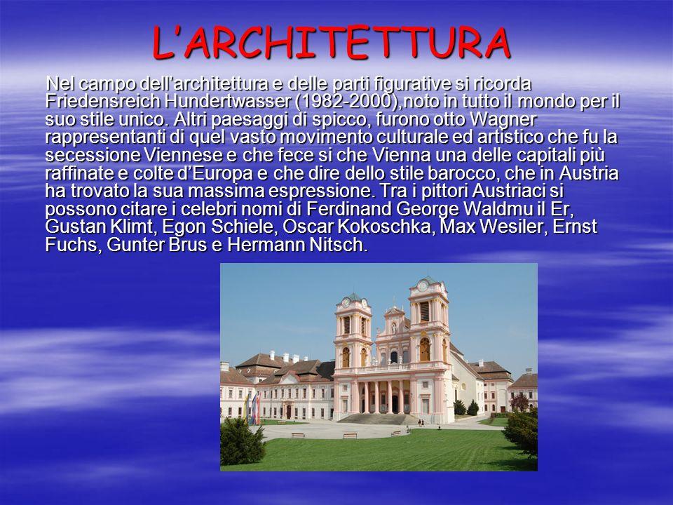 LARCHITETTURA Nel campo dellarchitettura e delle parti figurative si ricorda Friedensreich Hundertwasser (1982-2000),noto in tutto il mondo per il suo