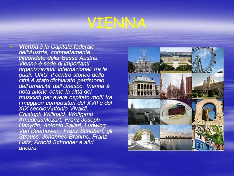 VIENNA Vienna è la Capitale federale dellAustria, completamente circondato dalla Bassa Austria. Vienna è sede di importanti organizzazioni internazion