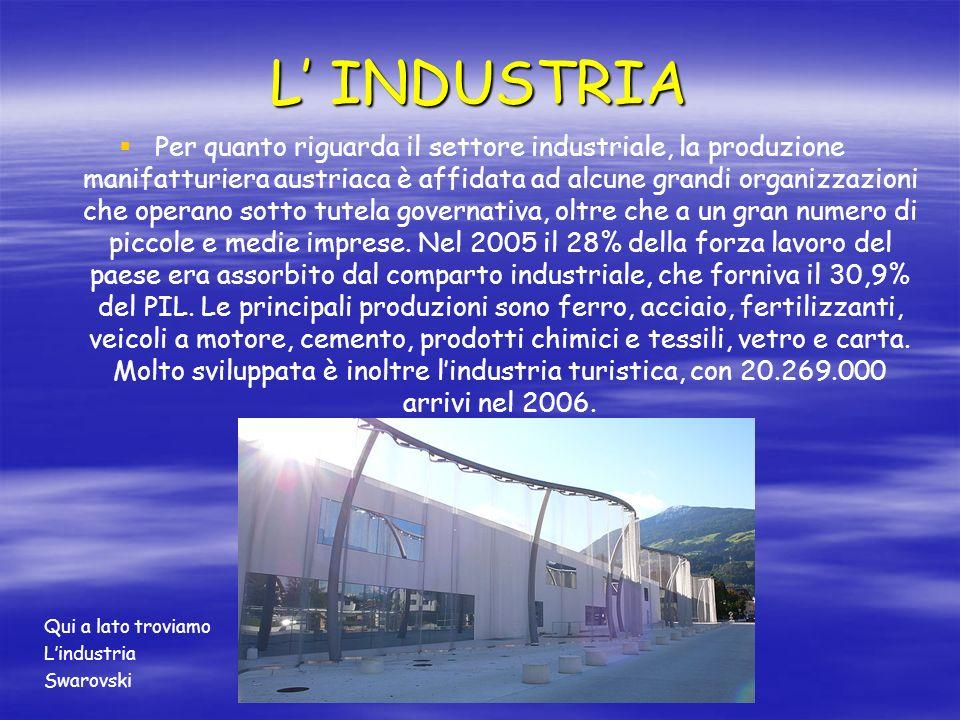 L INDUSTRIA Per quanto riguarda il settore industriale, la produzione manifatturiera austriaca è affidata ad alcune grandi organizzazioni che operano