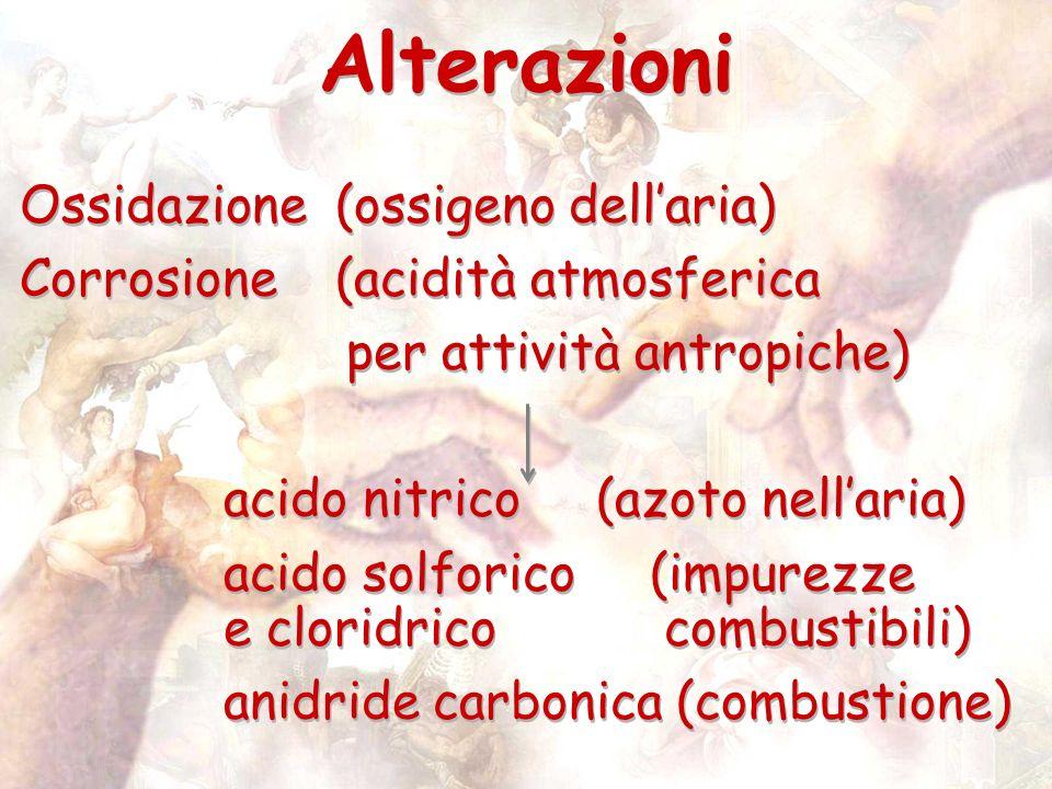 Ossidazione(ossigeno dellaria) Corrosione(acidità atmosferica per attività antropiche) acido nitrico (azoto nellaria) acido solforico (impurezze e cloridrico combustibili) anidride carbonica (combustione) Ossidazione(ossigeno dellaria) Corrosione(acidità atmosferica per attività antropiche) acido nitrico (azoto nellaria) acido solforico (impurezze e cloridrico combustibili) anidride carbonica (combustione) Alterazioni