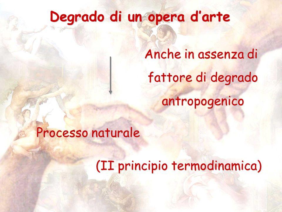Degrado di un opera darte Processo naturale Anche in assenza di fattore di degrado antropogenico Anche in assenza di fattore di degrado antropogenico (II principio termodinamica)