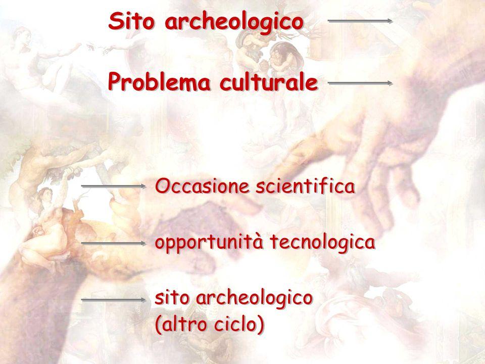 Sito archeologico Problema culturale Sito archeologico Problema culturale Occasione scientifica opportunità tecnologica sito archeologico (altro ciclo