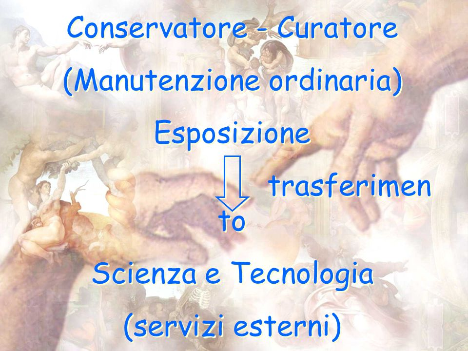Conservatore - Curatore (Manutenzione ordinaria) Esposizione trasferimen to Scienza e Tecnologia (servizi esterni) Conservatore - Curatore (Manutenzione ordinaria) Esposizione trasferimen to Scienza e Tecnologia (servizi esterni)