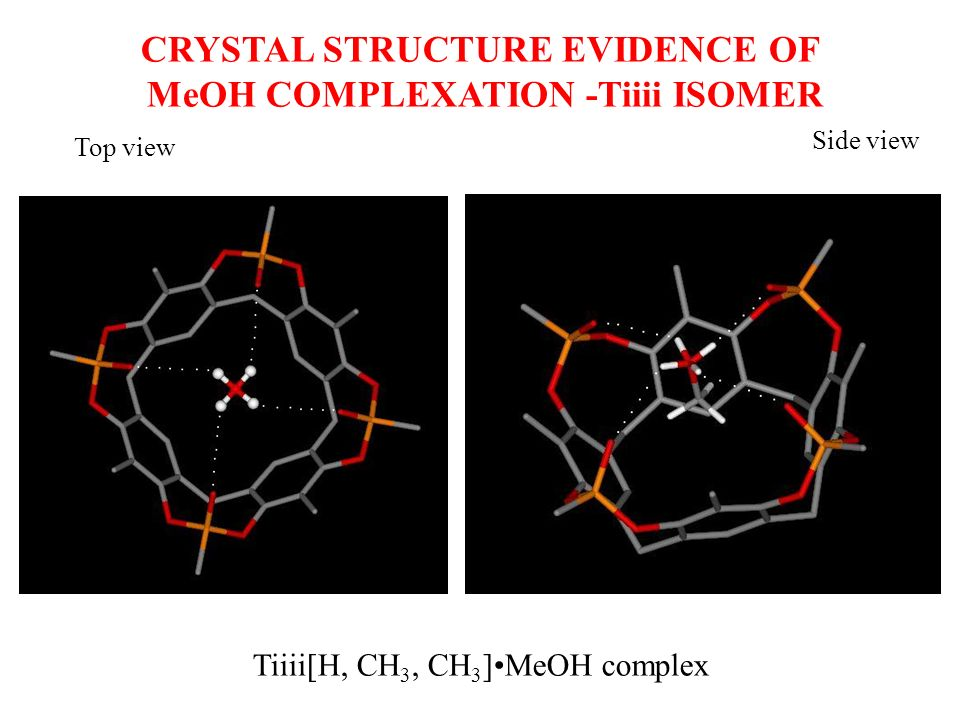 Top view Side view Tiiii[H, CH 3, CH 3 ]MeOH complex CRYSTAL STRUCTURE EVIDENCE OF MeOH COMPLEXATION -Tiiii ISOMER