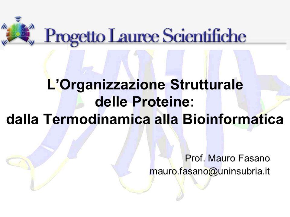 LOrganizzazione Strutturale delle Proteine: dalla Termodinamica alla Bioinformatica Prof. Mauro Fasano mauro.fasano@uninsubria.it