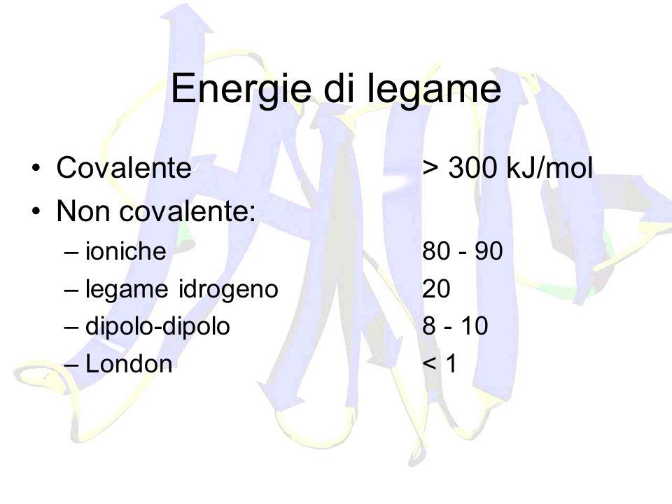 Energie di legame Covalente > 300 kJ/mol Non covalente: –ioniche80 - 90 –legame idrogeno20 –dipolo-dipolo8 - 10 –London< 1