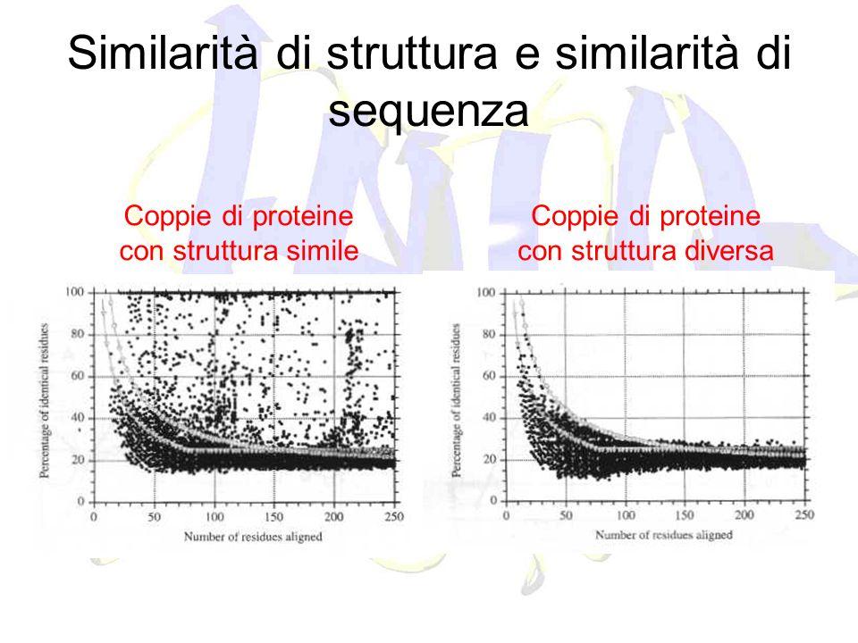 Similarità di struttura e similarità di sequenza Coppie di proteine con struttura simile Coppie di proteine con struttura diversa