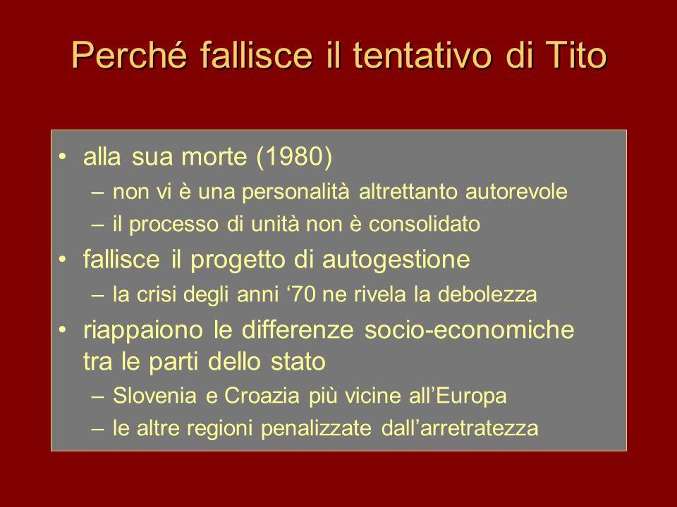 Perché fallisce il tentativo di Tito alla sua morte (1980) –non vi è una personalità altrettanto autorevole –il processo di unità non è consolidato fa