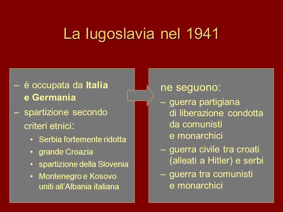 La Iugoslavia di Tito: 1948 – 1974 Tito nel 1948 attuò il tentativo di creare unidentità nazionale superiore, ideologica: –se le nazionalità erano state il risultato di una storia capitalista e borghese, –il socialismo avrebbe creato un uomo nuovo, non definito etnicamente Il successo, finché visse Tito, fu dovuto –alla sua autorità che aveva vinto Hitler e si era ribellato a Stalin –leadership dei paesi non allineati –progetto di una via nuova al socialismo: autogestione Josip Broz, detto Tito, capo dei partigiani comunisti, aveva condotto e vinto la guerra di liberazione dalloccupazione nazista e fascista