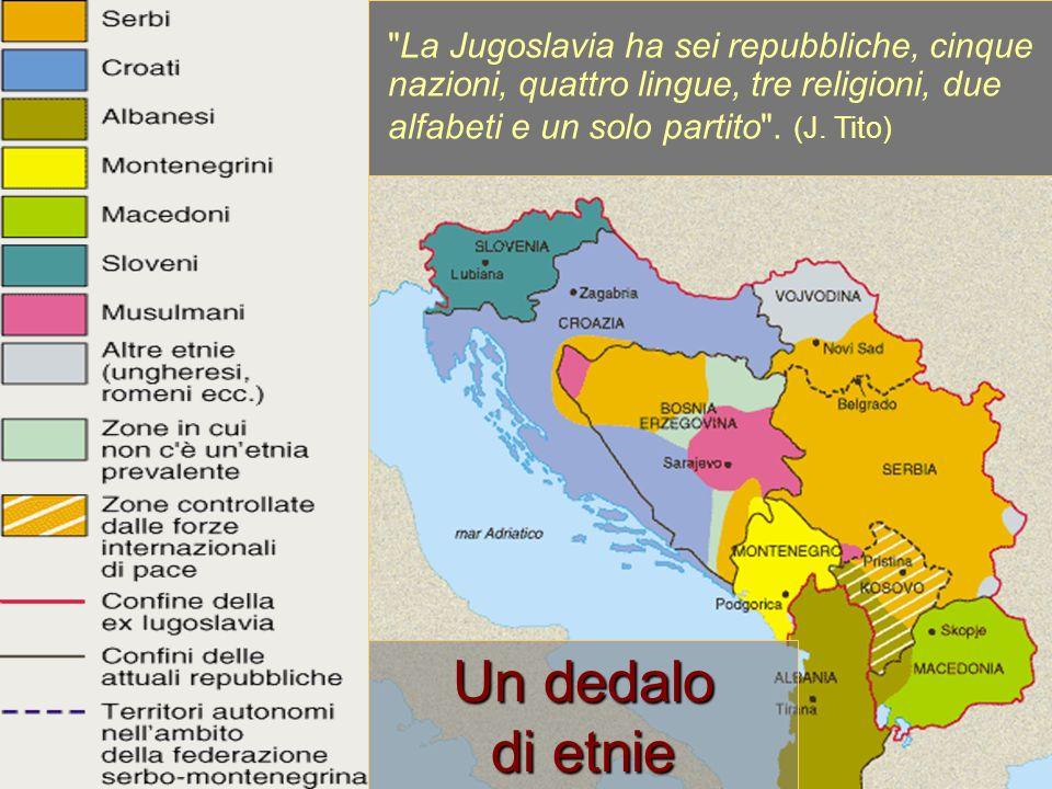 Il peso delle etnie nel 1981 Serbi8.140.000 Croati 4.428.000 Musulmani2.000.000 Sloveni 1.750.000 Albanesi1.730.000 Macedoni1.340.000 Montenegrini 579.000 Ungheresi 427.000 Romi 168.000 Iugoslavi1.219.000 Più: austriaci, bulgari, cechi, greci, italiani, ebrei, tedeschi, polacchi, romeni, russi, ruteni, slovacchi, turchi, ucraini, aromuni e altri.