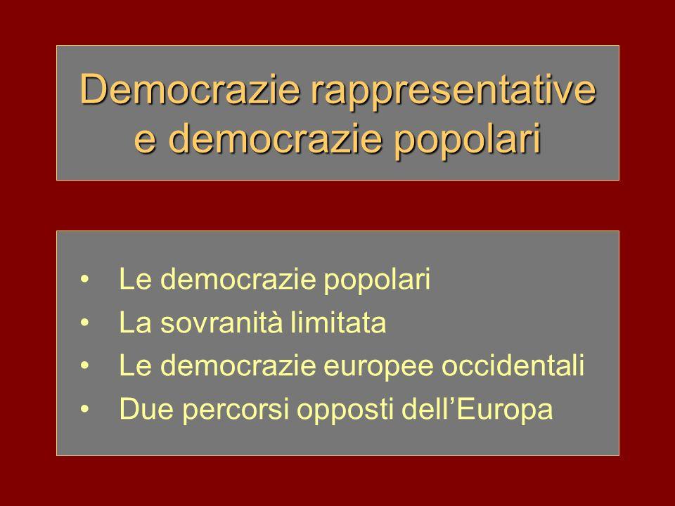 Democrazie rappresentative e democrazie popolari Le democrazie popolari La sovranità limitata Le democrazie europee occidentali Due percorsi opposti d