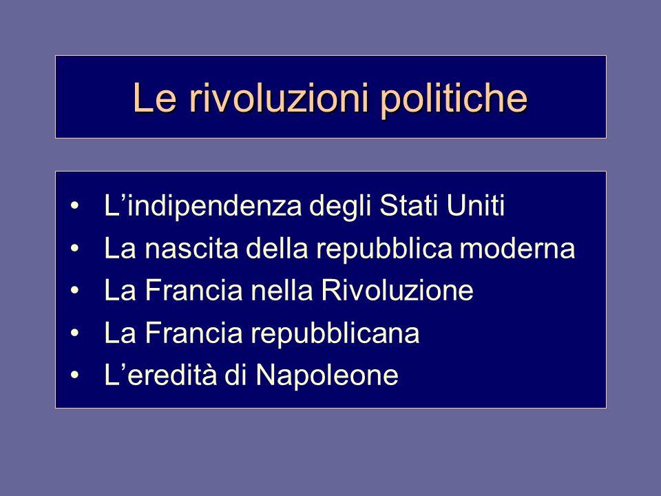 Le rivoluzioni politiche Lindipendenza degli Stati Uniti La nascita della repubblica moderna La Francia nella Rivoluzione La Francia repubblicana Lere