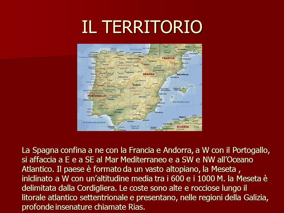 IL TERRITORIO La Spagna confina a ne con la Francia e Andorra, a W con il Portogallo, si affaccia a E e a SE al Mar Mediterraneo e a SW e NW allOceano Atlantico.