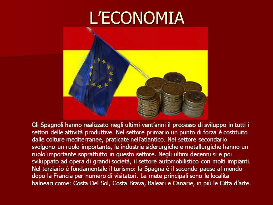 LECONOMIA Gli Spagnoli hanno realizzato negli ultimi ventanni il processo di sviluppo in tutti i settori delle attività produttive.