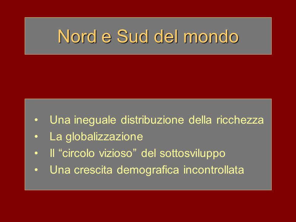 Nord e Sud del mondo Una ineguale distribuzione della ricchezza La globalizzazione Il circolo vizioso del sottosviluppo Una crescita demografica incon