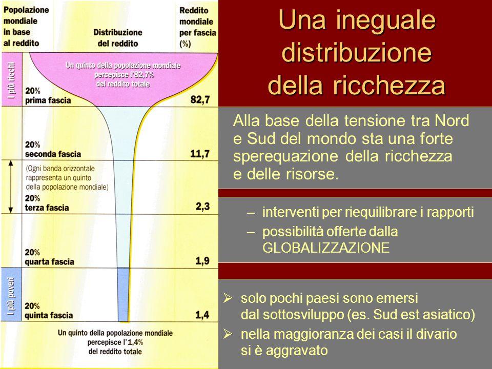 Una ineguale distribuzione della ricchezza Alla base della tensione tra Nord e Sud del mondo sta una forte sperequazione della ricchezza e delle risor