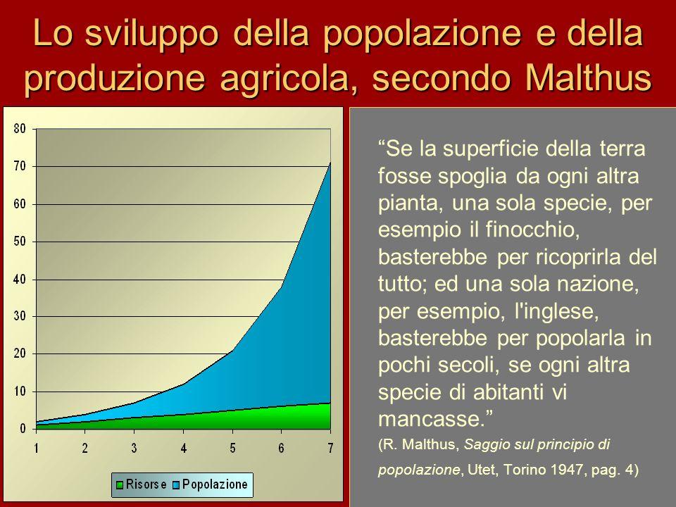 Lo sviluppo della popolazione e della produzione agricola, secondo Malthus Se la superficie della terra fosse spoglia da ogni altra pianta, una sola s