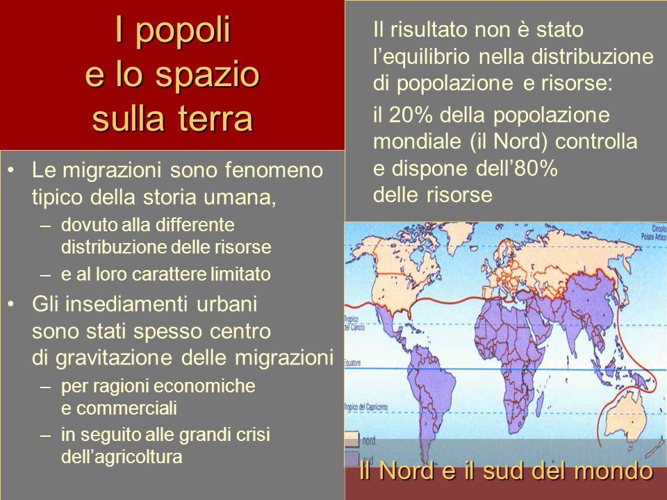 I popoli e lo spazio sulla terra Le migrazioni sono fenomeno tipico della storia umana, –dovuto alla differente distribuzione delle risorse –e al loro