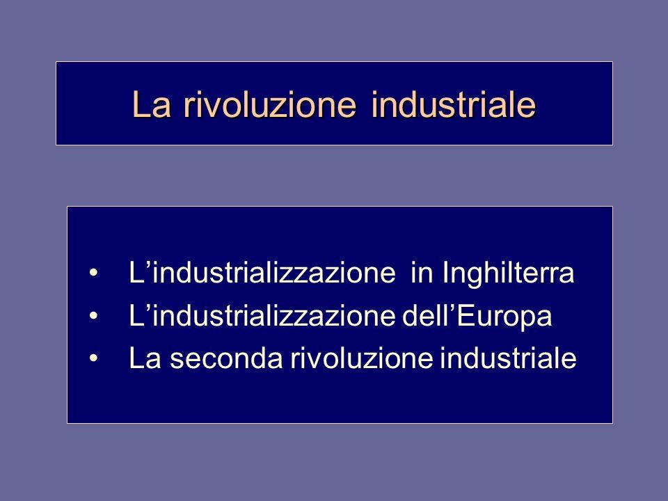 La rivoluzione industriale Lindustrializzazione in Inghilterra Lindustrializzazione dellEuropa La seconda rivoluzione industriale